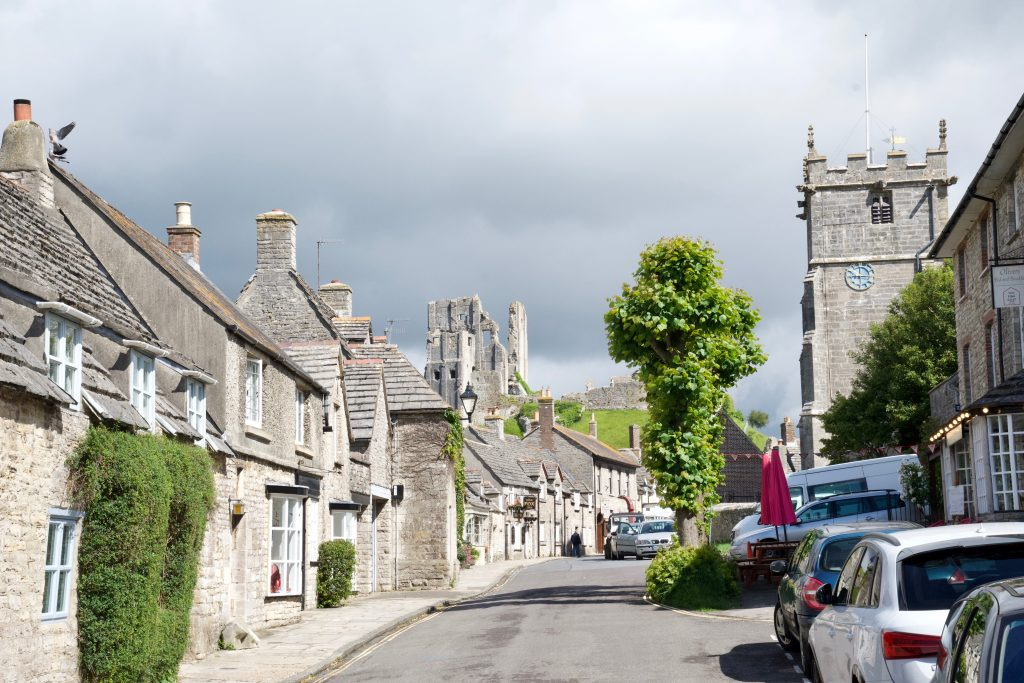 Corfe Castle from the village