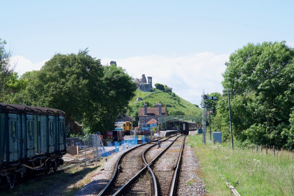 Corfe Castle from railway line