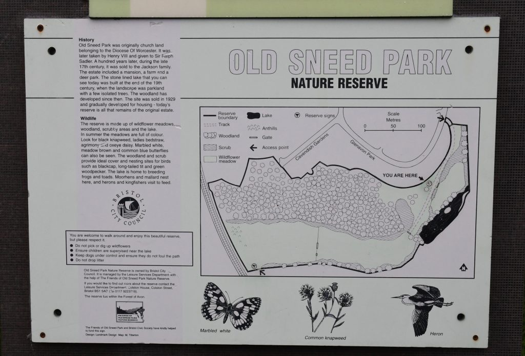 Old Sneed Park nature reserve Bristol sign map