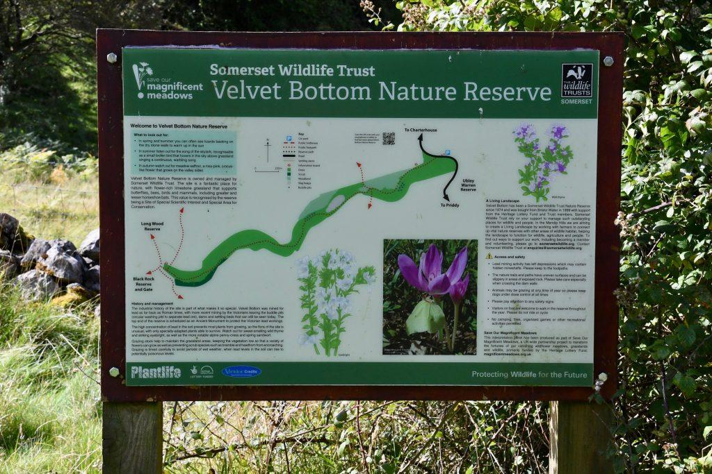 Velvet Bottom nature reserve sign.